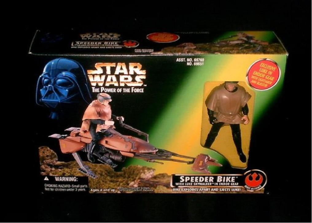 Star Wars POTF > RotJ Scout Trooper Speeder Bike & Luke Endor Kenner [Error Variant] Hasbro 69651