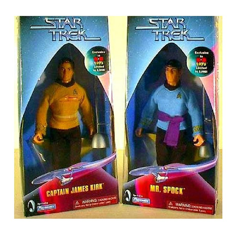 Star Trek Mego Style Retro Clothed Action Figure Doll Set Kirk & Spock Limited Ed. Exclusive