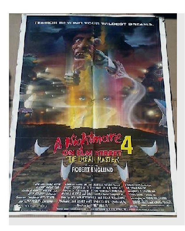 """Freddy Nightmare Orig Movie Poster 1sh--Vintage 80s Horror--Krueger-Elm Street, 27x40"""" Craven"""