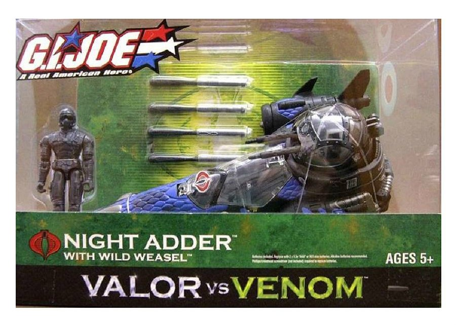 "Hasbro GI Joe 55497: Cobra Night Adder (Blue) 2005 Wild Weasel, Valor vs Venom 3.75"" Vehicle Set"