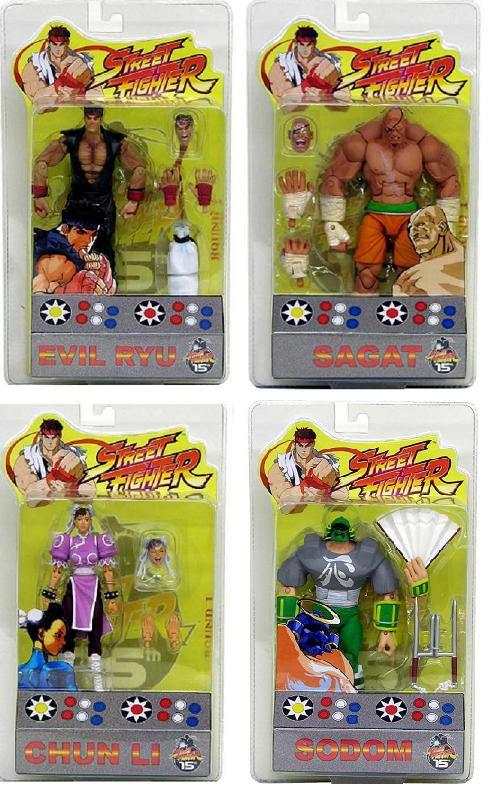"Sota Street Fighter Round 1: 4pc Set P2 [2004 SDCC] Action Figures: Evil Ryu, Sagat - Legends 6"""