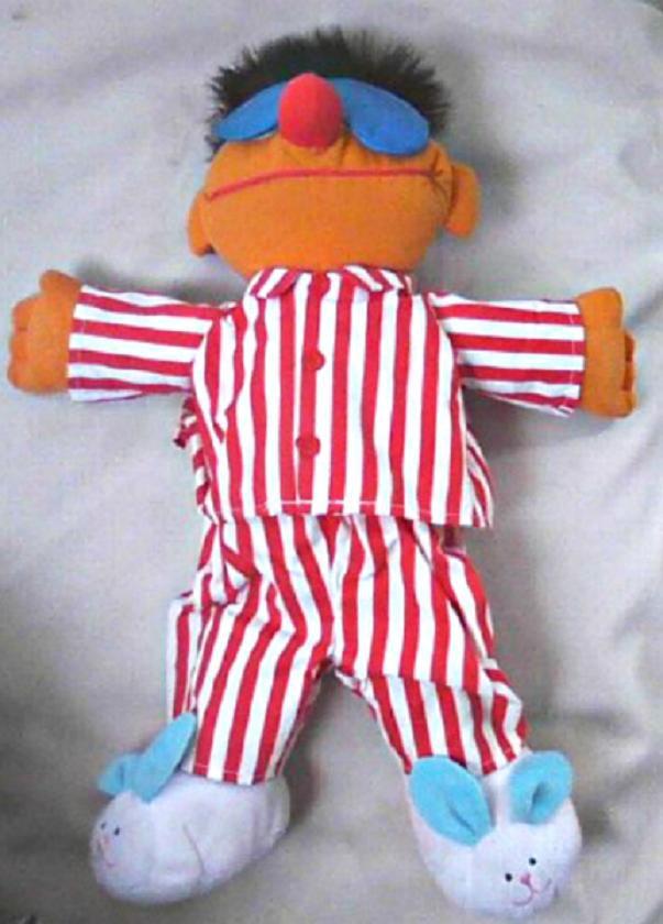 "Sing/Snore Ernie Plush 16"" Talking Muppet Doll, 1996 Tyco Toy Vintage Sesame Street Henson Muppets"