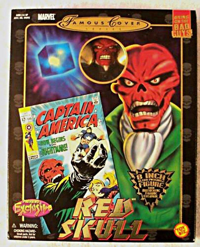 """Red Skull (Mego Style) Retro 8"""" Marvel Famous Cover Series ToyBiz Doll Figure PX Avengers Villain"""