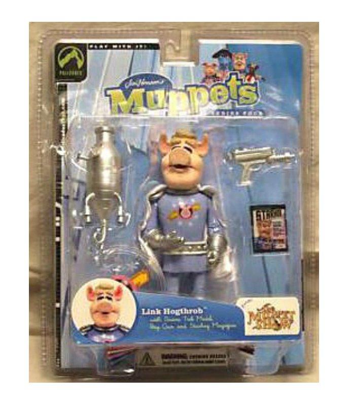 Link Hogthrob Muppet Show 6in Action Figure + Swine Trek Model, Palisades 2003 Jim Henson