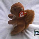 "Ty Beanie Baby, Rare/Retired, (1996) Plush 6"" Stuffed Animal Toy: Nuts • Xmas Holiday Decor w/ Tag"