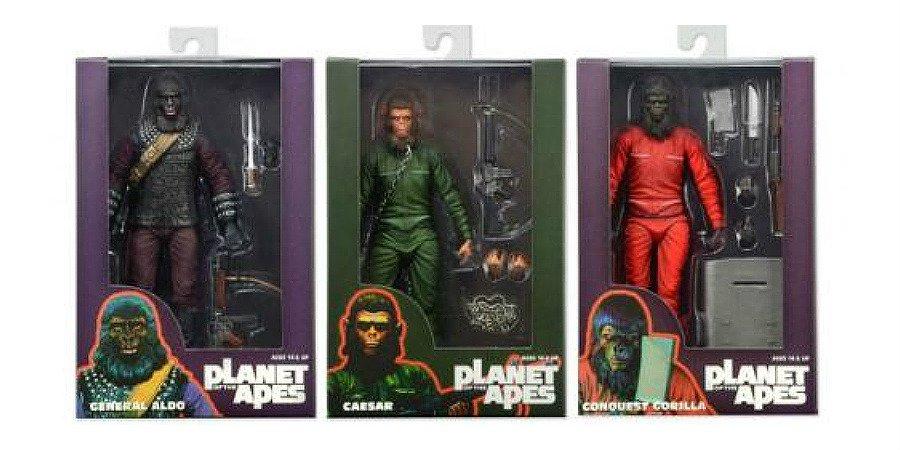 """Planet / Apes 2015 SDCC 3 Figure Set: 7"""" Aldo Conquest Gorilla Caesar-PotA Neca Reel Toys"""