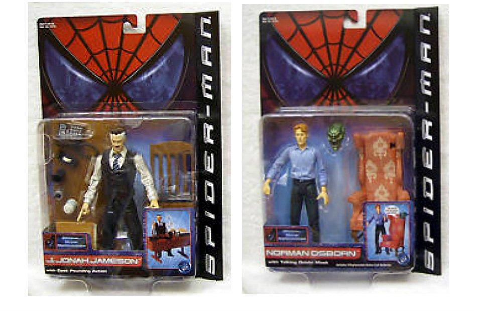 "2002 Spiderman Movie Marvel Legends Green Goblin Osborn J Jonah Jameson Toybiz 6"" AF"