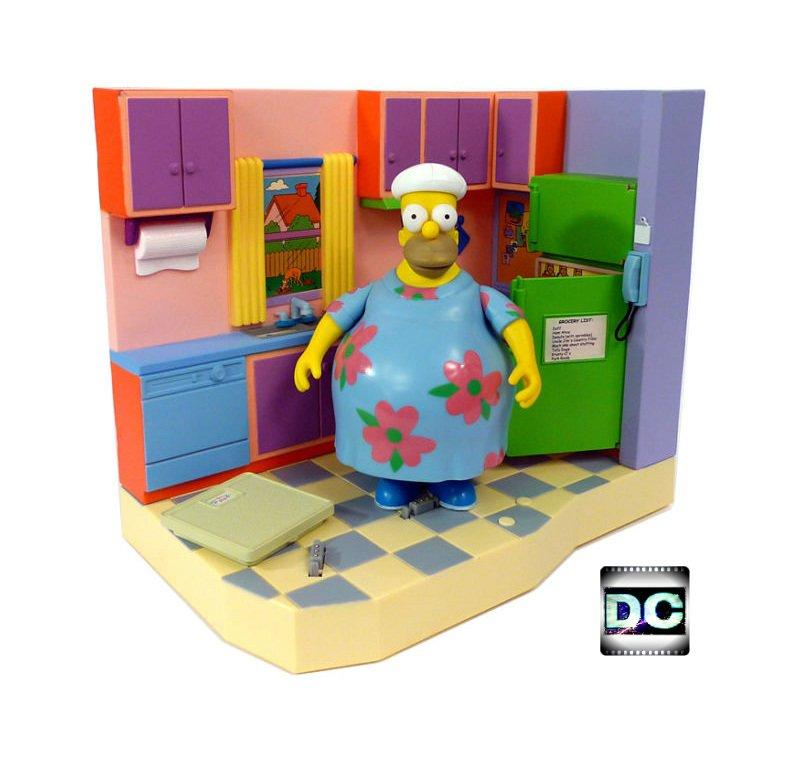 Muumuu Homer Simpsons Family Kitchen Interactive Environment Playset #40681 Playmates Toy