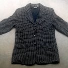 Women's Business Suit Blazer, Wool Coat-Gray Plaid Size L Vintage