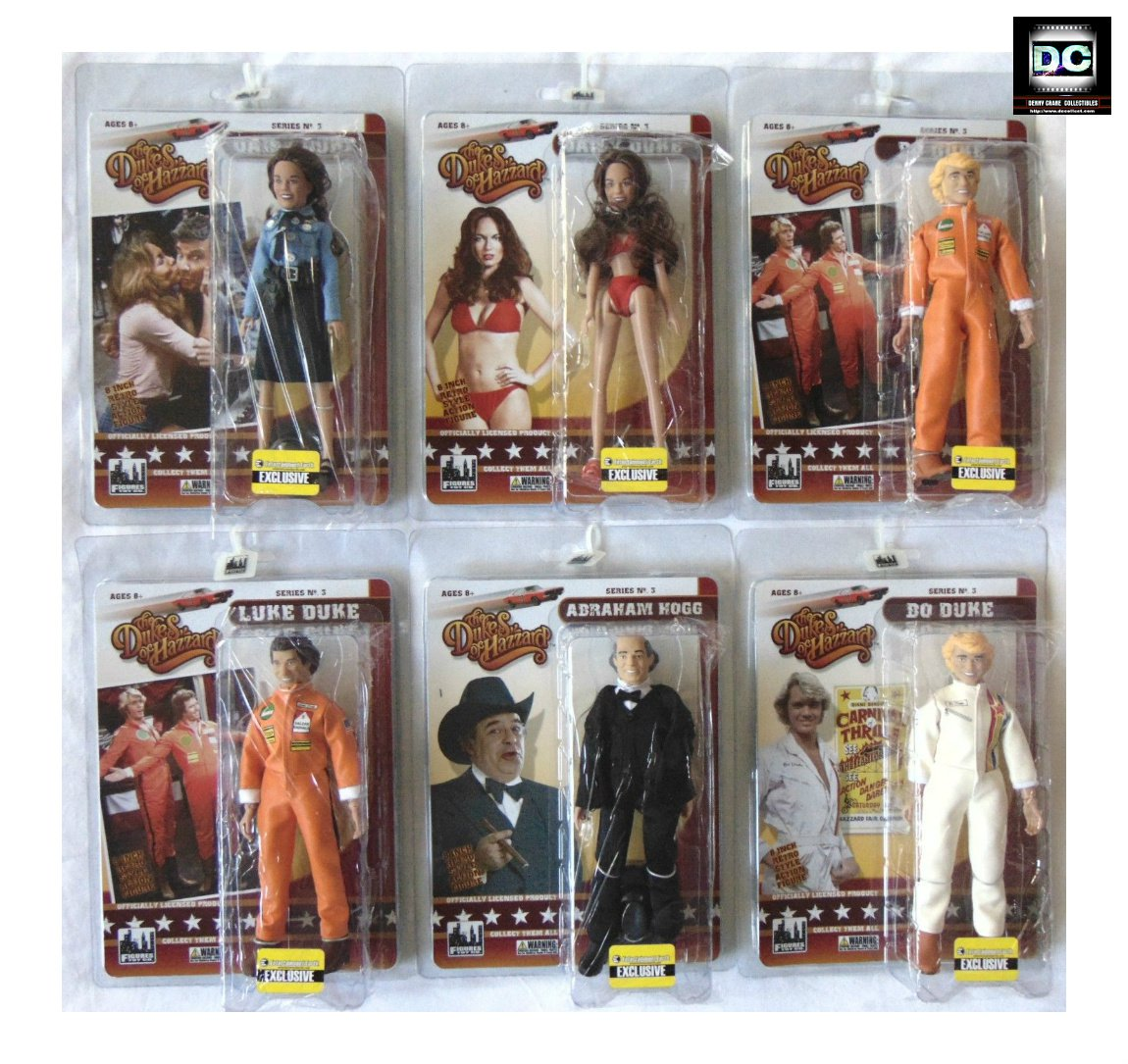 "Dukes of Hazzard Mego 8"" Classic TV Retro Action Complete Set 6 Bo Luke Daisy Figure Toy Series 3"