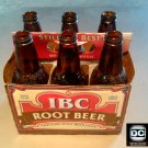 IBC Root Beer Vintage 12 oz Glass Bottles in Cardboard Carry Case Collectible Set 6