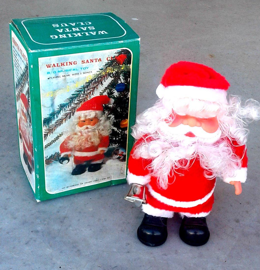 Animated Walking Santa Figure Vintage Musical Toy Xmas Holiday Decor w/ box Jingle Bells