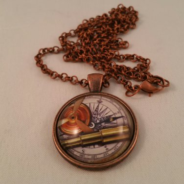 Steampunk Art Necklace Pendant Telescope and Compass Fantasy Jewelry