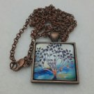 Tree of Life Pendant Necklace Family Tree Jewelry Square with Blue Sky