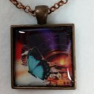 Hot Air Balloon and Butterflies Steampunk Pendant  Necklace Jewelry Adjustable Rolo Chain