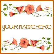 Neoloch.com Store Banner and Logo Combo Orange Morning Glory Flowers Add your Store Name!