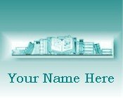 Neoloch.com Store Banner and Logo Combo Teal Green Books Book Shelf Add your Store Name!
