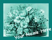 Neoloch.com Store Banner and Logo Combo Teal Green Flower Boquet Floral Add your Store Name!