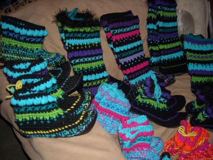 """Handmade Unisex Wool Slipper Socks Mukluks Child 6"""" Tall"""