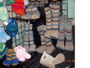 """Handmade Unisex Slipper Socks Mukluks Youth or Adult Size  14"""" Tall"""