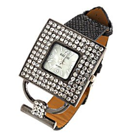 Fashion Jewelry Black Leather Band Ladies Rhinestone Watch