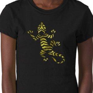 LIZARD Design Gold Embossed looking Kids Dark T-Shirt size youth lg