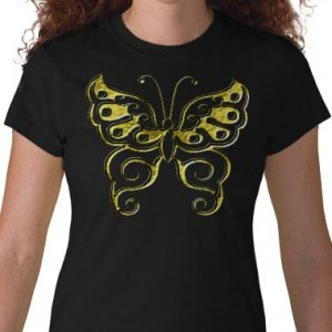 BUTTERFLY Design Gold Embossed looking Kids Dark T-Shirt size youth lg