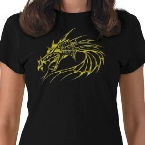 DRAGON Design Gold Embossed looking Kids Dark T-Shirt size youth lg