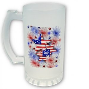 16 oz. Beer Stein Patriotic 4th of July  PERSONALIZED