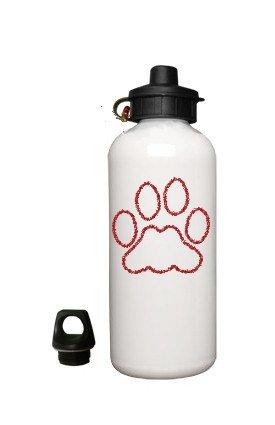 Dog PAW Aluminum White Water Bottle Eco Green