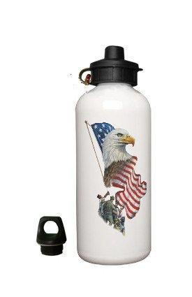 American EAGLE Aluminum White Water Bottle Eco Green