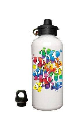 Clown FISH Aluminum White Water Bottle Eco Green