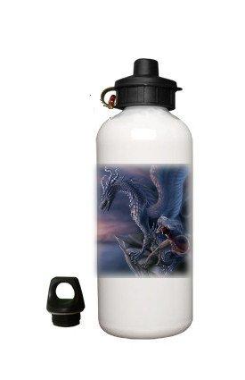 Dragon Fantasy Aluminum White Water Bottle Eco Green