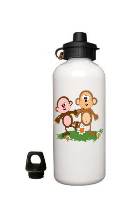 Silly Monkeys Aluminum White Water Bottle Eco Green