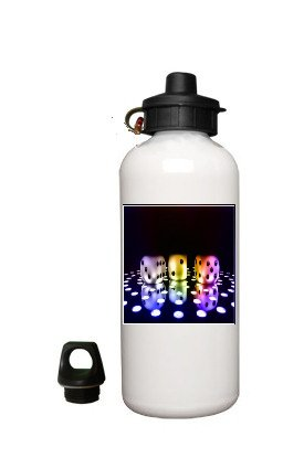 Lucky Dice Aluminum White Water Bottle Eco Green