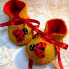 Antique Gold & Red Booties with Ladybirds, 0-3 months (RM 84)