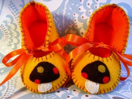 Gold & Orange Booties with Mushrooms, 0-3months (RM 80)