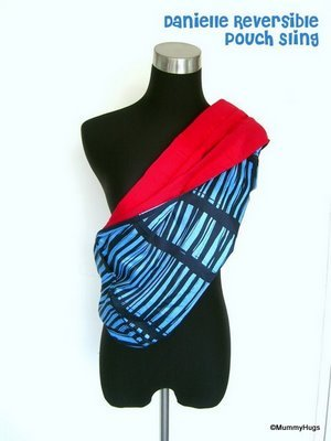 Danielle Blue with Stripes Rose Silk with Bright Pink Satin Cotton