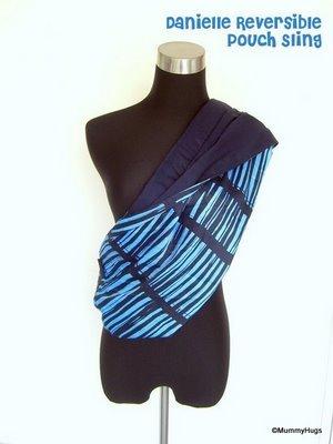 Danielle Blue with Stripes Rose Silk with Dark Blue Satin Cotton