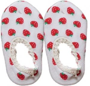Japan Baby Low-cut Anti-Slip Socks - White Strawberry, RM 12/pair