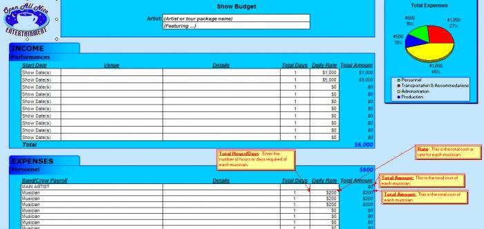 Live Show Budget Spreadsheet