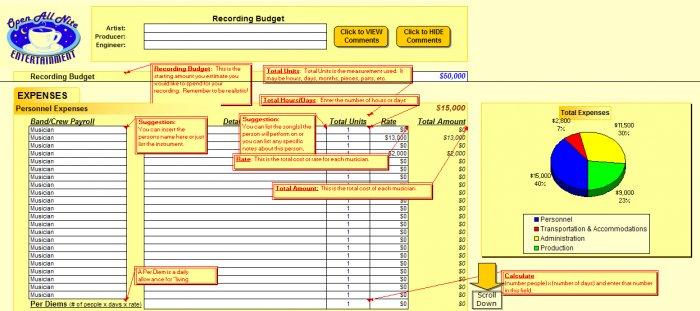 Studio Recording Budget Spreadsheet
