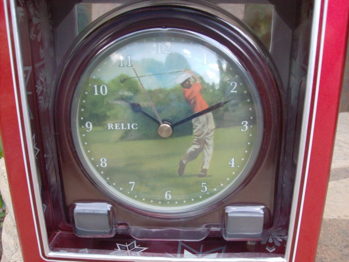 Solid Wood Desk Clock with Golfer by RELIC