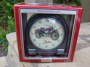 Solid Wood Desk Clock with Vintage Motorcycle by RELIC