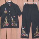 STUDIO WEST Black Embroidered Capri Set - Medium
