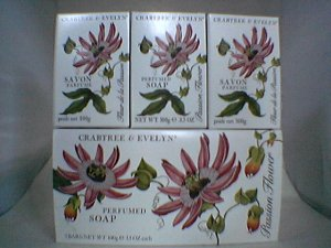 Crabtree Evelyn Bath Soap Box/3 Passion Flower   Discontinued 3.5 oz.