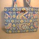 Vera Bradley Small Tic Tac Tote purse handbag kindle toggle tote Capri Blue   NWT Retired
