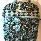 Vera Bradley Tall Zip Tote Java Blue laptop commuter case pocket tote diaper bag  HTF NWT Retired