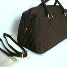 Vera Bradley Boston Bag convertible handbag Espresso Microfiber Exc pre-owned  purse satchel Retired