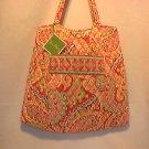 Vera Bradley Curvy Tote Capri Melon purse knitting lingerie bag shopper  Retired  NWT
